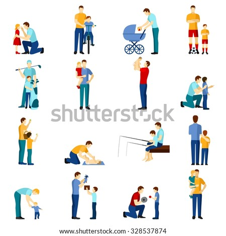 ?olor  fatherhood flat icons set with father playing with children  isolated vector illustration. - stock vector