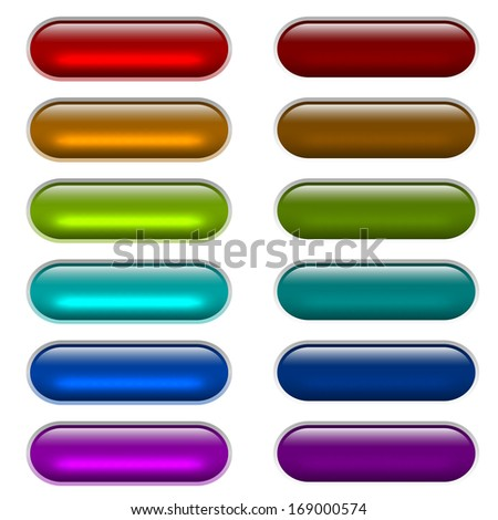 ?olor light glossy glass buttons isolated on white background. - stock vector