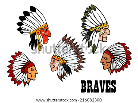 ��¡olorful cartoon native American Indian braves heads wearing feathered headdresses, side view in profile and text Braves. For american history,  ethnic or thanksgiving design  - stock vector