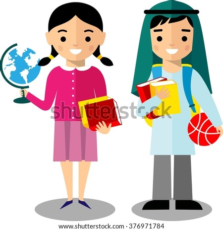 ?oncept of learning with arabian school children in national clothes in flat style.  Vector colorful illustration of arab pupil.