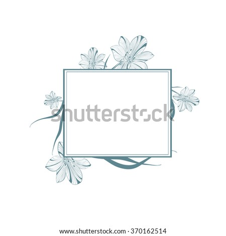 One colored Abstract Vintage Lily Flower Frame, Copyspace - stock vector