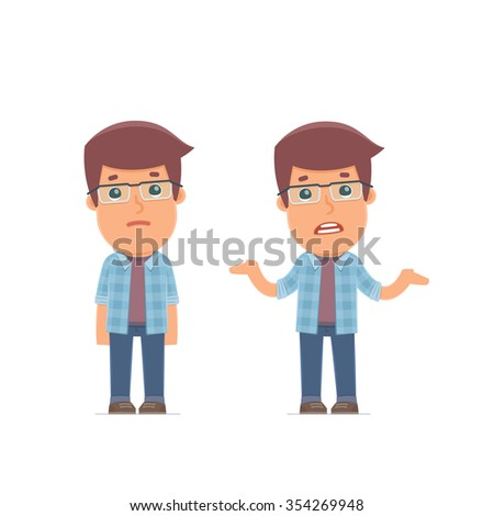 Ð¡onfused  Character Freelancer embarrassment and does not know what to do. for use in presentations, etc. - stock vector