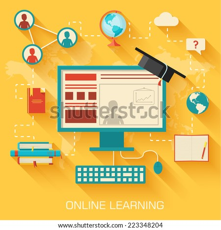 online learning infographic background concept in retro flat style design. Vector illustration - stock vector