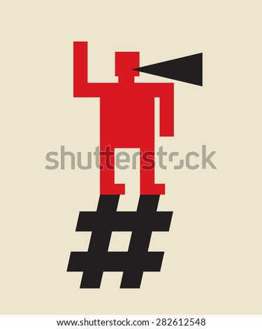 online propaganda: spread the word using hashtag - stock vector