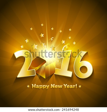 2016 open gift box Happy New Year greeting card - stock vector