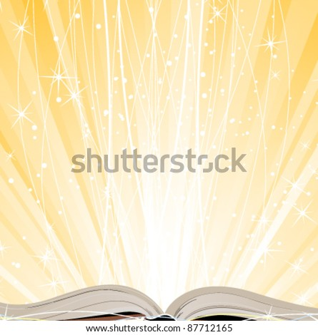 Open hardcover book on a shining yellow background - stock vector