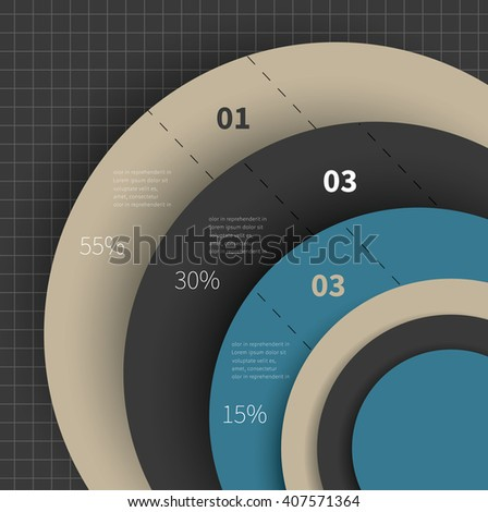 3 options chart for business summary, report or marketing / big chart for infographic - stock vector