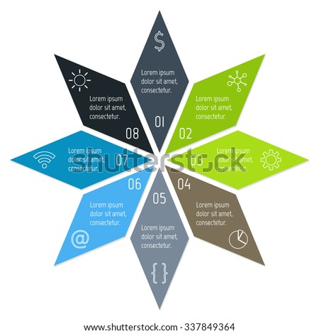 8 options round infographic banner. Vector paper progress steps for tutorial. Number banner template for diagram, graph or chart. Business concept sequence banner. EPS10 star layout. - stock vector