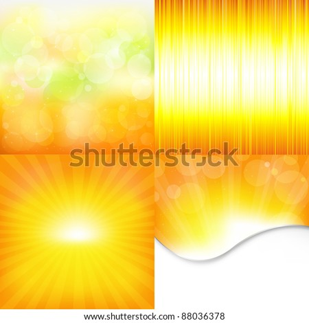 4 Orange And Yellow Backgrounds, Vector Illustration - stock vector