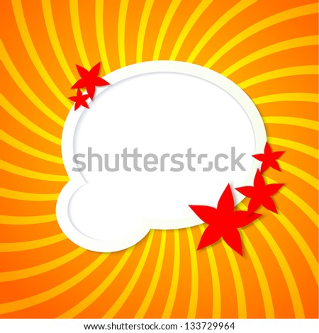 Orange background with round elements and flowers - stock vector