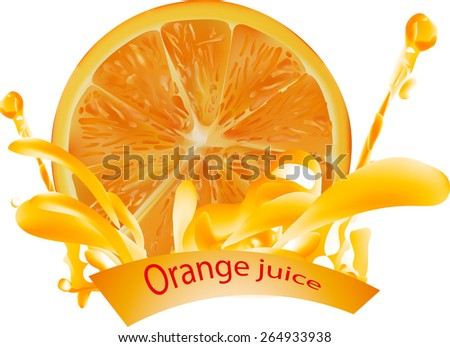 orange juice and orange  . done gradient mesh on white background . vector illustration . eps 10 - stock vector