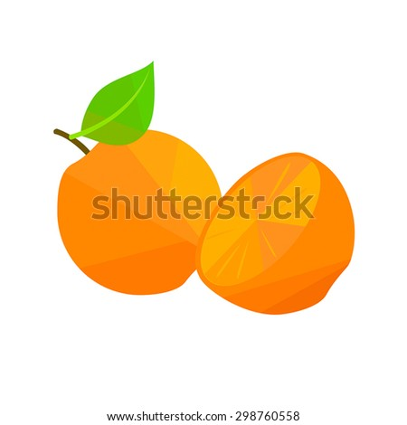 Oranges with leaves - stock vector