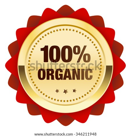 100% organic guaranteed seal or icon. Glossy golden seal or button with stars and red color.