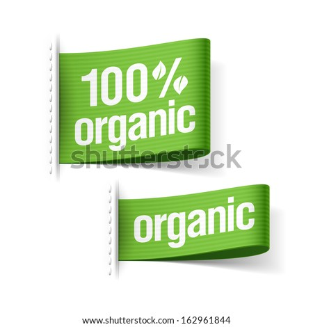 100% organic product labels. Vector. - stock vector