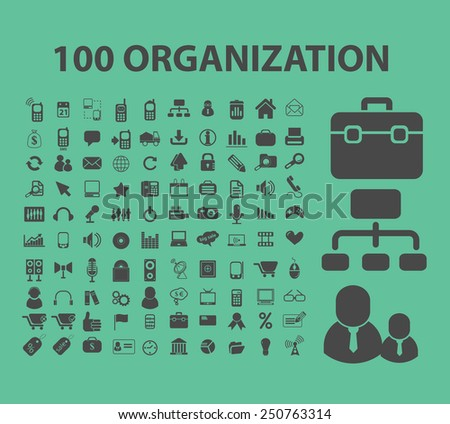 100 organization, human resources, management icons, signs, illustrations set, vector - stock vector