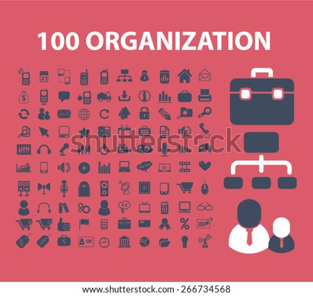 100 organization, management icons, signs, illustrations design concept set. vector - stock vector