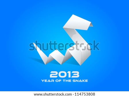 2013 Origami Snake. Happy New Year card template. Vector. Editable. - stock vector