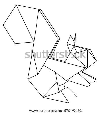 Origami Squirrel Stock Vector 2018 570192193 Shutterstock
