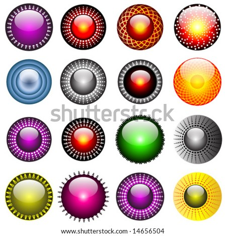 16 original shiny button design set