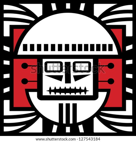 Ornament in style of the Maya. Head of the person. - stock vector