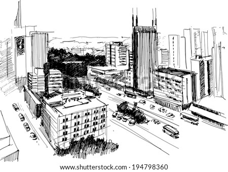 Outline of skyline of Nairobi skyscrapers, Kenya - vector illustration in a contrast sketchy style - stock vector