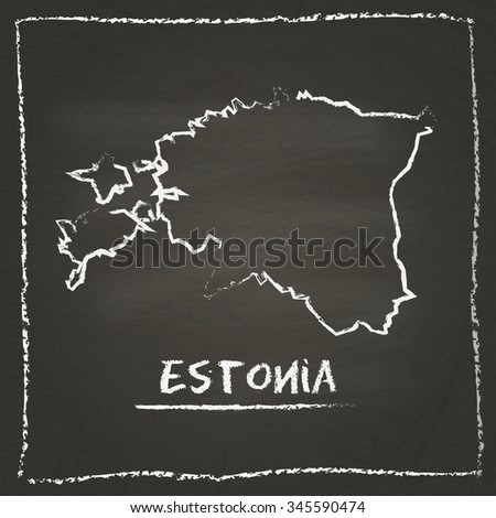 Outline vector map of Estonia hand drawn with chalk on a blackboard. Chalkboard scribble in childish style. White chalk texture on black background - stock vector