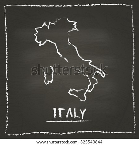 Outline vector map of Italy hand drawn with chalk on a blackboard. Chalkboard scribble in childish style. White chalk texture on black background - stock vector