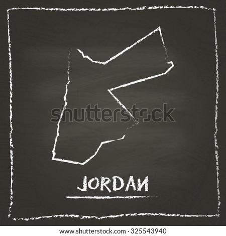 Outline vector map of Jordan hand drawn with chalk on a blackboard. Chalkboard scribble in childish style. White chalk texture on black background - stock vector