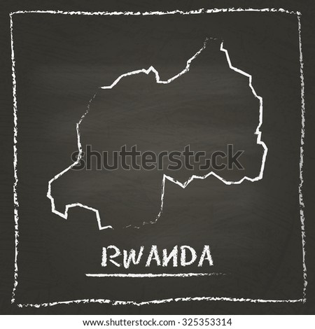 Outline vector map of Rwanda hand drawn with chalk on a blackboard. Chalkboard scribble in childish style. White chalk texture on black background - stock vector