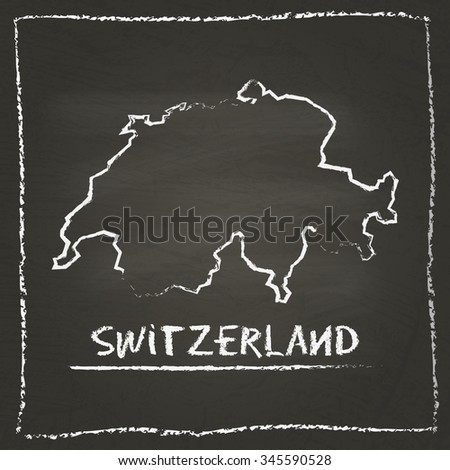 Outline vector map of Switzerland hand drawn with chalk on a blackboard. Chalkboard scribble in childish style. White chalk texture on black background - stock vector