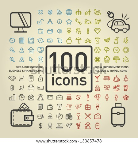 100 Outlined Icons of Holidays and Traveling, Business and Economy, Web and Internet, Ecology and Environment
