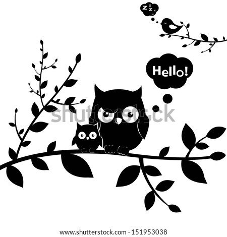 2 Owls, Isolated On White Background, Vector Illustration - stock vector