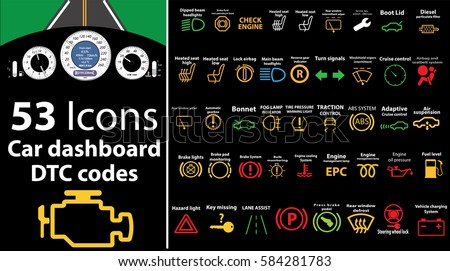 53 Pack Icons Car Dashboard Dtc Stock Vector 584281783 ...