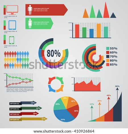 pack of data visualization vector infographics and elements