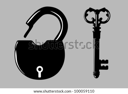 padlock silhouette on gray background, vector illustration - stock vector