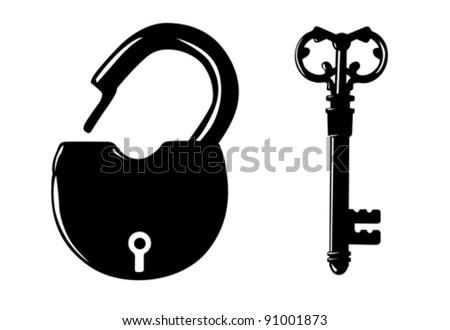padlock silhouette on white background - stock vector