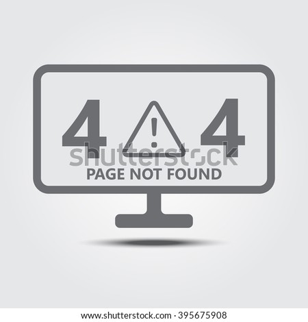 404 Page not found concept on monitor flat icon