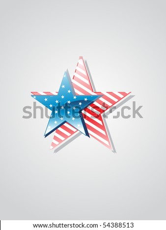 pair of glossy stars with us background - stock vector
