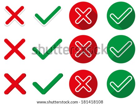 6 pairs of isolated ok and not ok symbols - in simple, sticker and flat style - stock vector