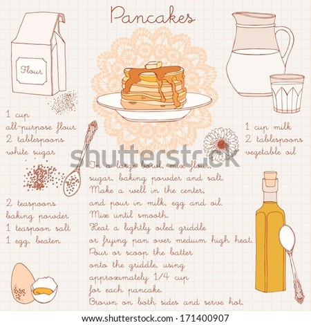 Pancakes recipe. Vector illustration.