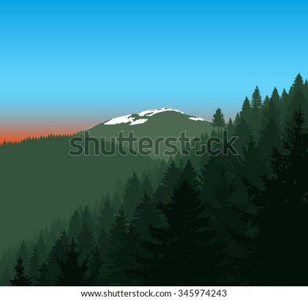 Panorama of mountains. Silhouette of mountains with snow and coniferous trees on the background of colorful sky. Can be used as eco banner.