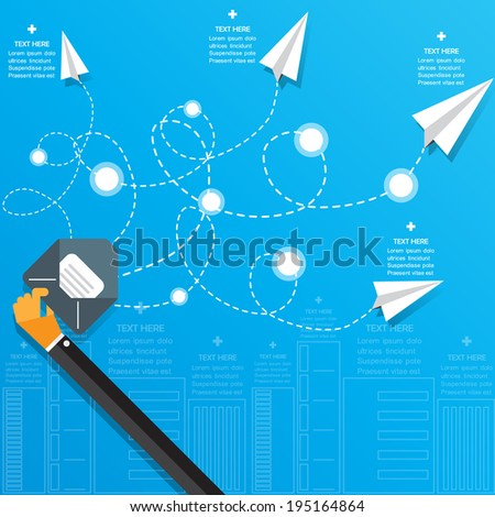 Paper airplane message Concept. Vector Design. - stock vector