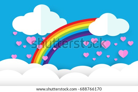 paper art style, heart in the sky and rainbow