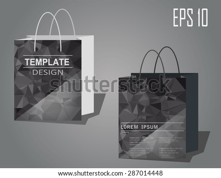 Paper Bag  White and Black,Templates. Design Abstract geometric polygon - eps10 vector - stock vector