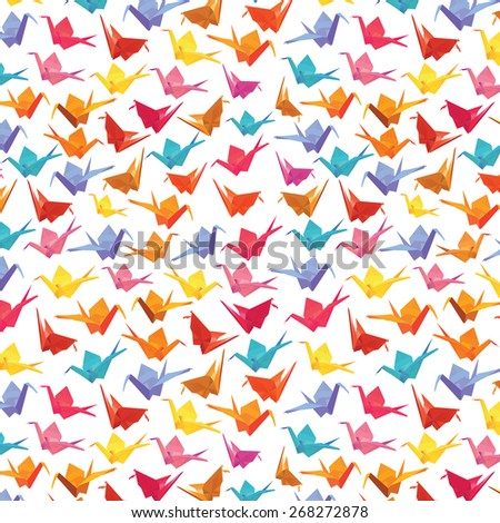 1000 Paper Cranes â?? Colorful Origami Seamless Pattern - Vector - stock vector
