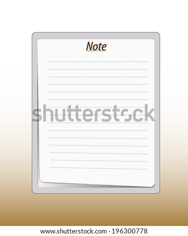 Paper note pad - stock vector