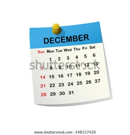 2014 paper sheet calendar for December. - stock vector