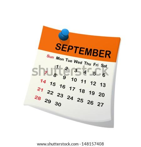 2014 paper sheet calendar for September. - stock vector