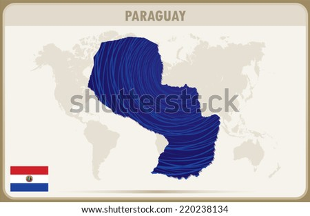 PARAGUAY map graphic, Vector.