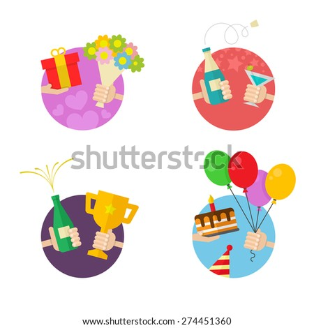 4 Party and Celebration icons - stock vector